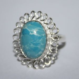 Beautiful NWOT Silver and ocean blue stone ring